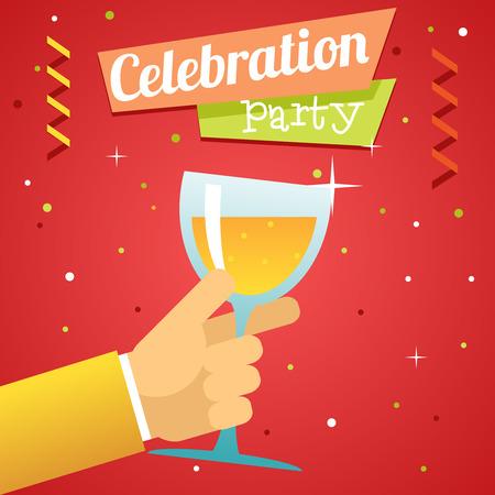 pledge: Toast Pledge Celebration Success Prosperity Symbol Hand Hold Glass Drink Flat Design Template