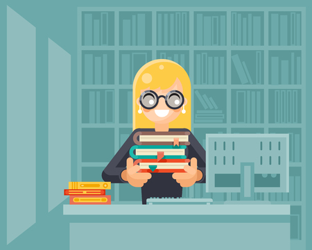 librarian: Librarian girl holding book library knowledge education learning design illustration