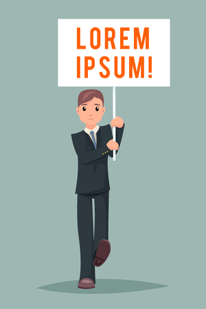 protestor: Event Demonstration Poster Stand Businessman Character Icon Cartoon Design Illustration