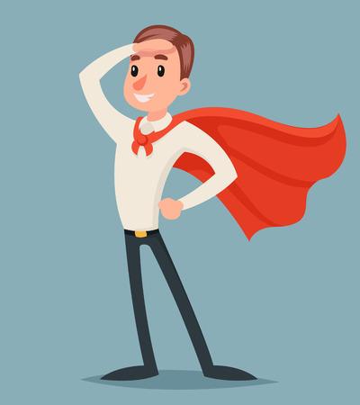 Brave Bereit Aktion Businessman Character Icon Retro Cartoon Design Illustration