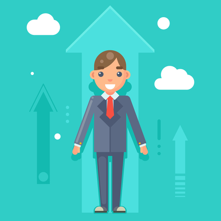 experienced: Experienced Professional Manager Businessman Success Growth Infographics Flat Design Character Illustration