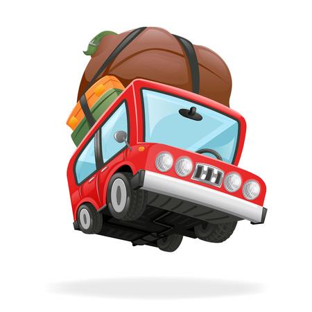 minivan: Travel Minivan Car Icon Vacation Icon Isolated Realistic Design Illustration