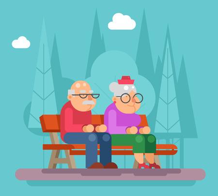 promenade: Elderly couple sitting a bench in park promenade flat design illustration