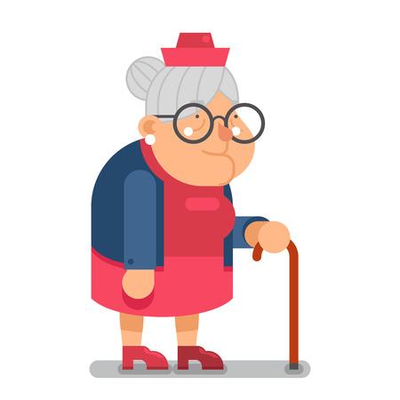 Granny Old Lady Character Cartoon Design illustration