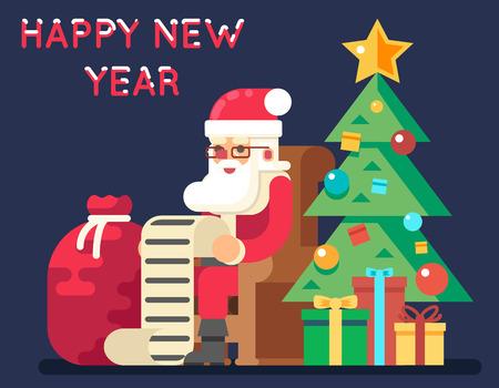 christmas list: Santa Claus Tree Bell Gifts List Christmas New Year Flat Design Greeting Card Illustration