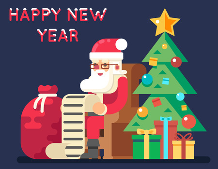 Santa Claus Tree Bell Gifts List Christmas New Year Flat Design Greeting Card Illustration