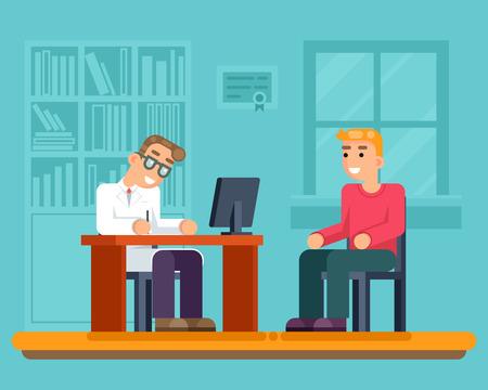 tiredness: Reception doctor hospital cabinet medical services sick patient flat illustration Illustration