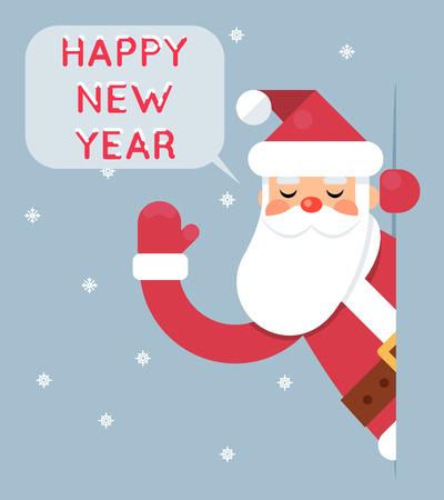 looking in corner: Santa Looking Out Corner Cartoon Character Happy New Year Greeting Card Flat Illustration Illustration