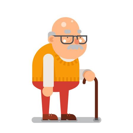 anciano: Abuelo viejo personaje de dibujos animados ilustración plana