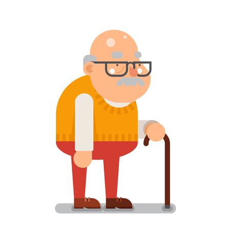 Grootvader Old Man Karakter Flat Cartoon illustratie