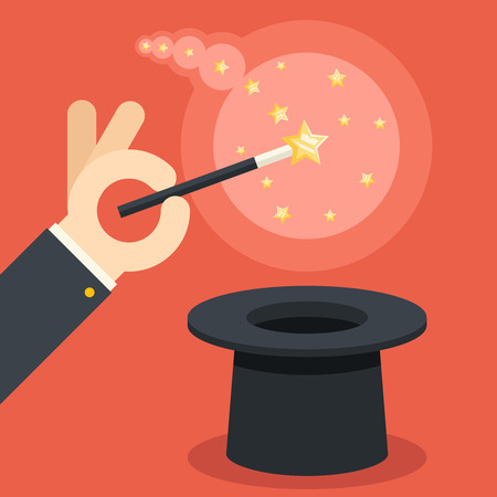 conjuring: Magician hand holding magic wand cylinder hat flat design illustration