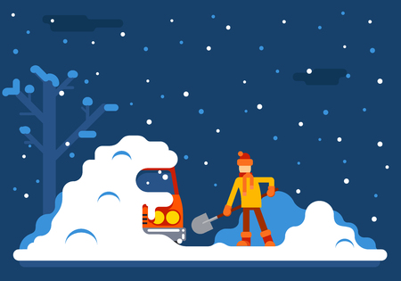 Winter Man Digs Car Out Snow Background Flat Design Illustration Ilustracja