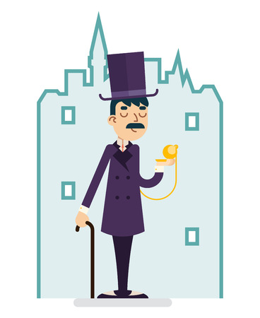 Clock Time Great Britain Victorian Gentleman Businessman Character Flat Illustration