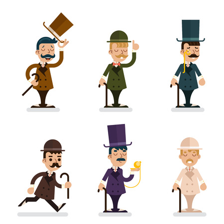 victorian people: Victorian Gentleman Characters Icons Set Isolated Flat Illustration Illustration