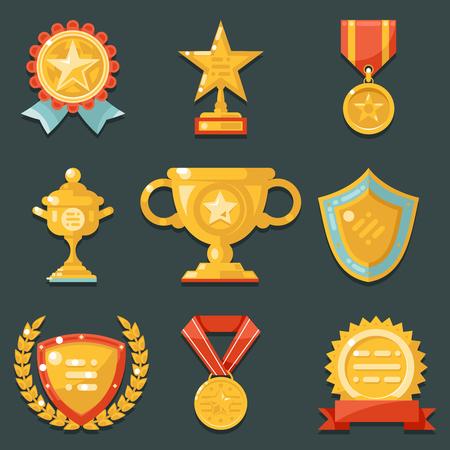 Win Gold Awards Symbols Trophy Icons Set Flat Vector Illustration Illustration