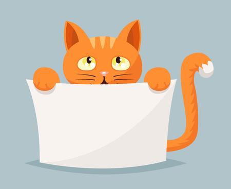 Cat beggar and help animals cartoon character vector illustration Illustration