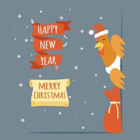 cockscomb: Santa Claus Cock Happy New Year Merry Christmas Greeting Card Template Cartoon Vector Illustration Illustration