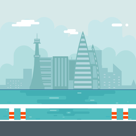 sea water: River Water Sea Modern City Background Flat Vector Illustration