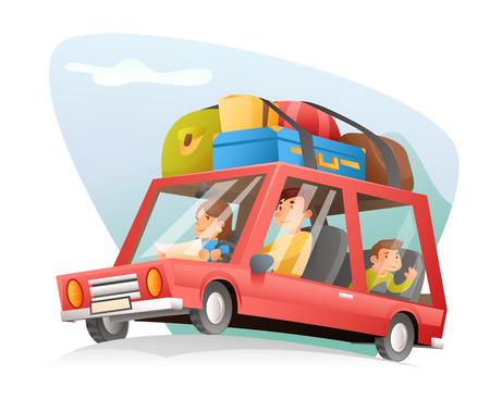 coche de la familia y de la ilustración de diseño vectorial de dibujos animados de viaje