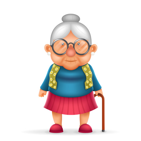 Granny Old Lady Realistic Cartoon Character Design Isolated Vector Illustrator