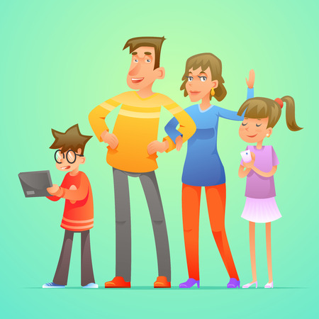 Happy family and characters set cartoon design vector illustration