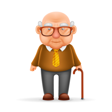 Old Man Grandfather Realistic Cartoon Character Design Isolated Vector Illustrator