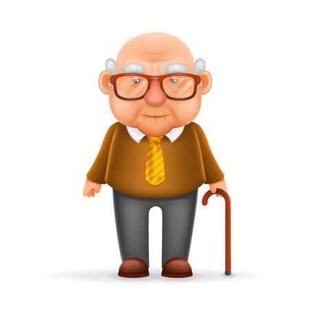 Stary Człowiek dziadek Realistic Cartoon Character Design Izolowane Wektorowy Illustrator