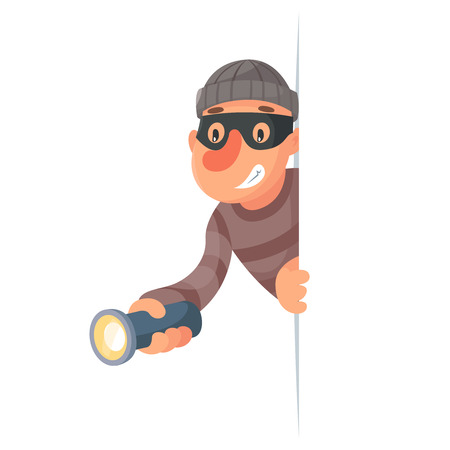 bandits: Thief with flashlight peeping out of corner cartoon design vector illustration