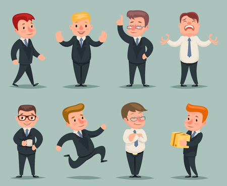 discouraged: Different Positions Actions Businessman Character Icons Set Retro Cartoon Design Vector Illustration