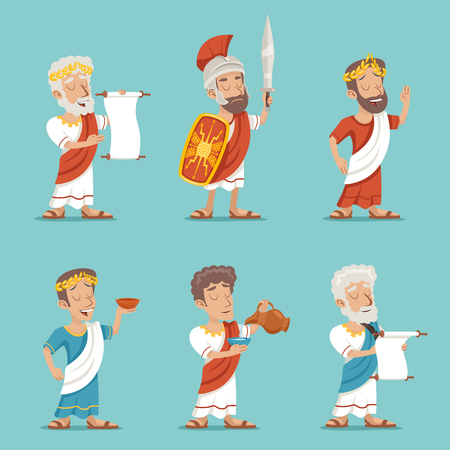ancient civilization: Greek Roman Retro Vintage Character Icon Cartoon Design Vector Illustration