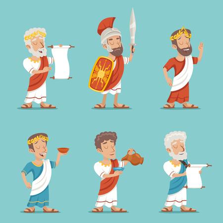 roma antigua: Icono griego del personaje de época romana retro ilustración de dibujos animados de diseño vectorial