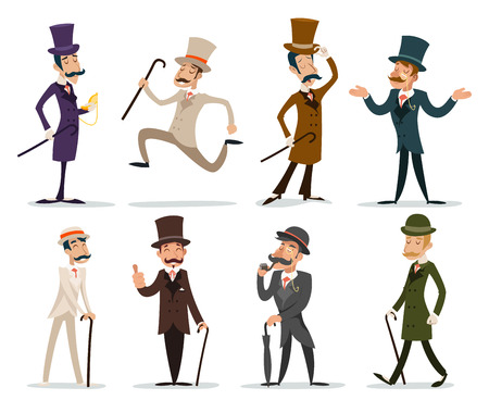 Gentleman Victorian Business Cartoon Character Icon English Isolated Background Retro Vintage Great Britain Design Vector Illustration