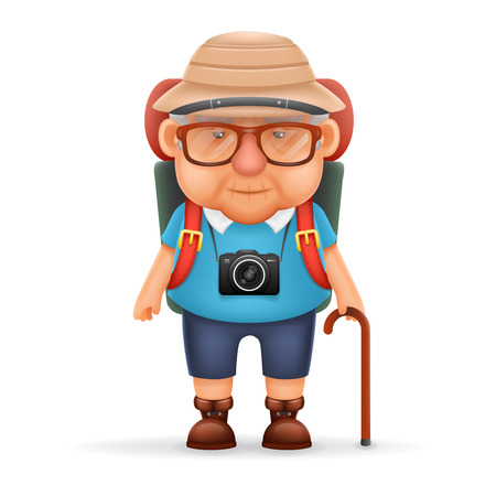 tourists: Old Backpacker Man Grandfather Photo Camera Travel Realistic Cartoon Character Design Isolated Vector Illustration Illustration