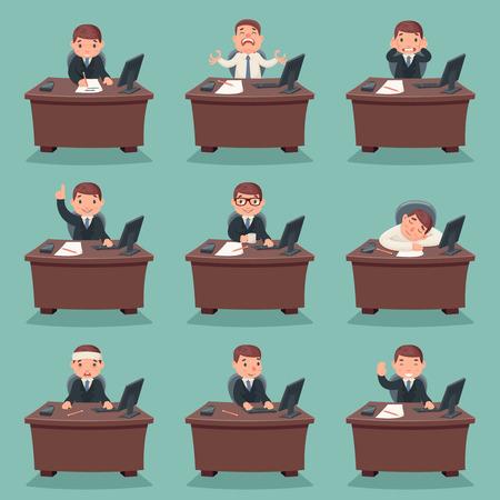 Businessman character work and office desktop set cartoon design vector illustration Vetores