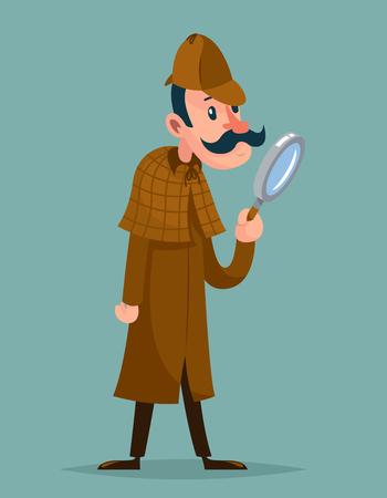crime solving: Victorian detective magnifying glass investigation mascot cartoon vector illustration