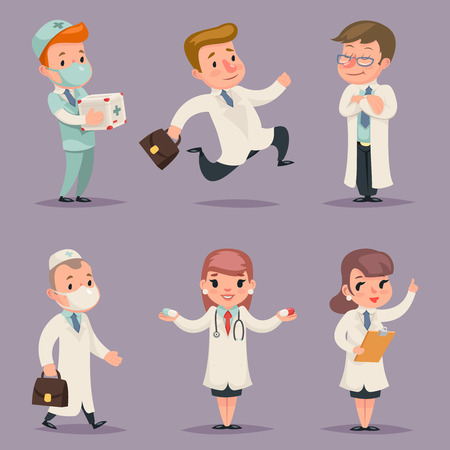 internist: Doctor Different Positions Actions Character Icons Set Medic Retro Cartoon Design Vector Illustration