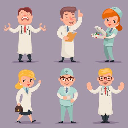enfermera con cofia: Doctor en diferentes posiciones acciones del personaje Ilustración de conjunto de iconos Medic retro diseño de la historieta del vector