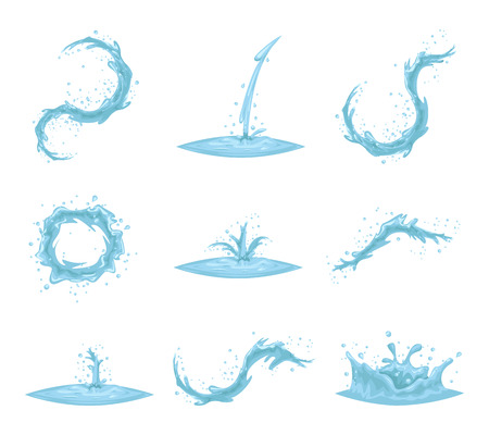 Flowing Water Splash Drop Wave Whirlpool Vortex Retro Vintage Cartoon Icon Set Isolated Vector Illustration