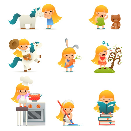 little child: Little Happy Girl Smiling Child Icon Set Concept Isolated Flat Vector Illustration