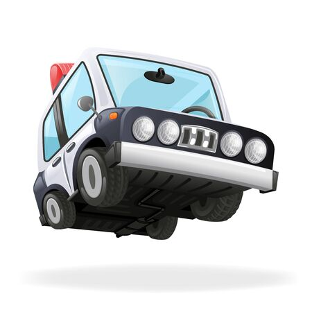 Police Car Icon Law Icon Isolated Realistic 3d Vector Illustration  イラスト・ベクター素材