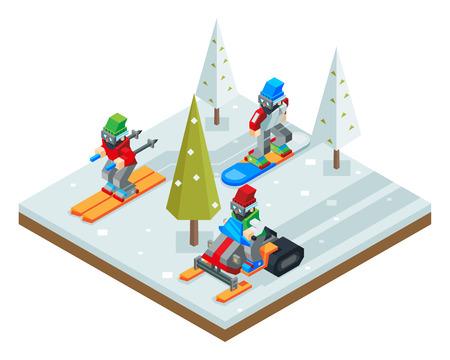 slalom: Winter resort holidays ski snowboard sled Isometric Icon symbol snow background flat design vector illustration