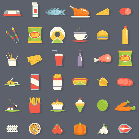 fried noodles: Food Icons Symbols Set Retro Flat Vector Illustration