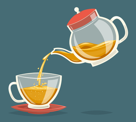 water stream: Pour Tea Drink Glass Teapot Transparent Stream Flow Water Retro Vintage Cartoon Icon Design Vector Illustration