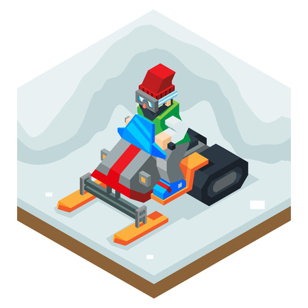 illustration journey: Snowmobile Winter Activity Vacation Journey Flat Design Isometric Vector Illustration