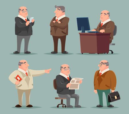 cartoon adult: Businessman Big Boss Adult Old Man Character Cartoon Set Vector Illustration