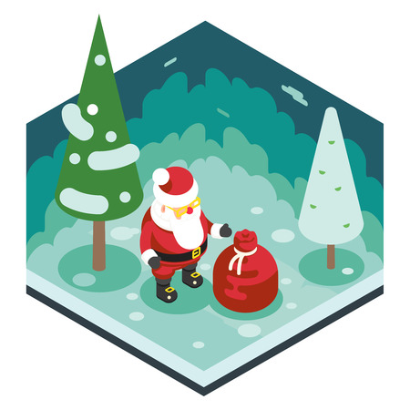 st  nick: Christmas Santa Claus Grandfather Frost Gift Bag New Year Forest Wood Background Isometric Flat Design Icon Template Vector Illustration