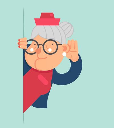Old Lady Chisme Escucha el carácter oyen por casualidad y reconoced la esquina de dibujos animados para adultos plana Ilustración del vector del diseño