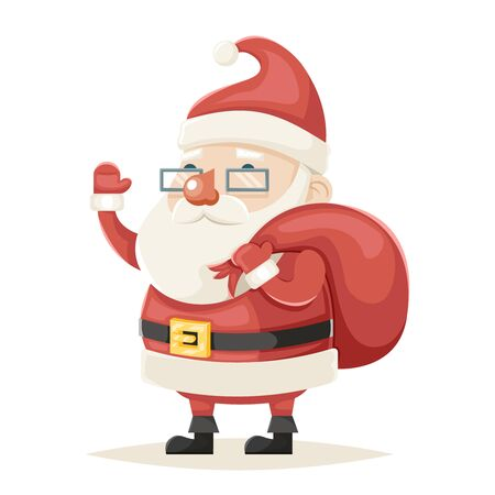 Santa Claus Character and Christmas New Year Isolated Icon Cartoon Design Vector Illustration