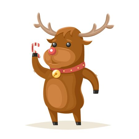 cane collars: Deer Character Christmas and New Year Isolated Icon Cartoon Design Vector Illustration Illustration