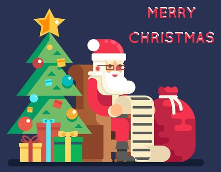 Christmas Santa Claus Tree Gifts List New Year Icon Flat Design Greeting Card Vector Illustration